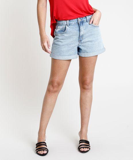 Short-Jeans-Feminino-Mom-Cintura-Super-Alta-com-Barra-Dobrada-Azul-Claro-9889655-Azul_Claro_1