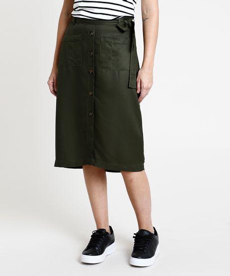 Saia-Feminina-Midi-com-Botoes-e-Cinto-Verde-Militar-9887388-Verde_Militar_1