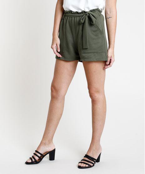 Short-Feminino-em-Moletom-com-Amarracao-Verde-Militar-9867657-Verde_Militar_1