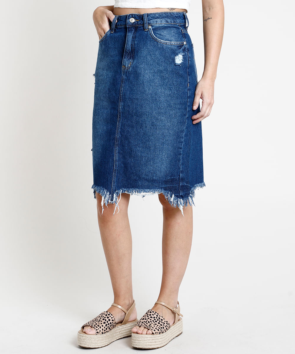 Saia Jeans Feminina Midi Destroyed com Fenda Azul Escuro