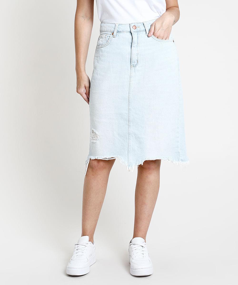 Saia Jeans Feminina Midi com Rasgo e Fenda Azul Claro