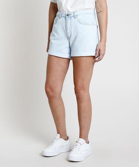 Short-Jeans-Feminino-Mom-Cintura-Super-Alta-Destroyed-com-Barra-Dobrada-Azul-Claro-9889649-Azul_Claro_1