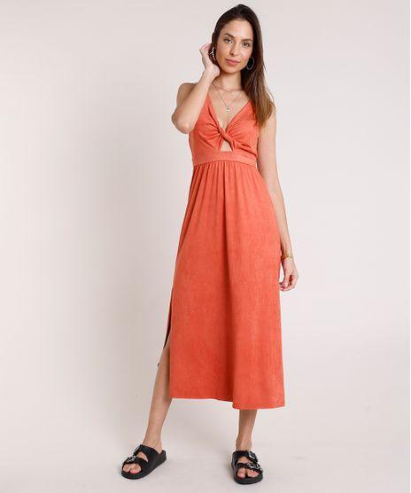 Vestido-Feminino-Midi-em-Suede-com-Abertura-e-Fenda-Decote-V-Alca-Media-Cobre-9880599-Cobre_1
