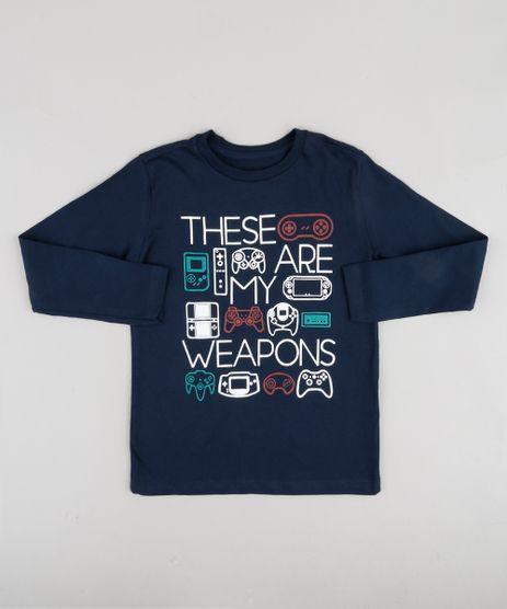 Camiseta-Infantil--Weapons--Videogame-Manga-Longa-Azul-Marinho-9883616-Azul_Marinho_1