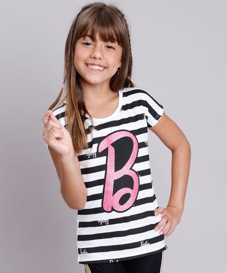 Blusa-Infantil-Barbie-Listrada-com-Brilho-Manga-Curta--Branca-9757216-Branco_1