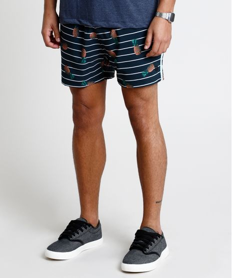 Short-Masculino-Estampado-de-Abacaxi-Listrado-com-Bolso-Preto-9863753-Preto_1