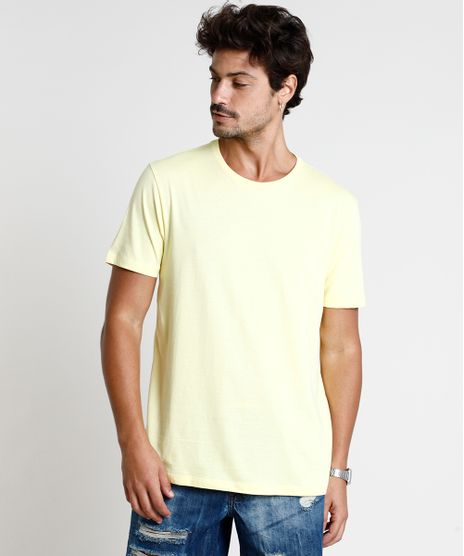 Camiseta-Masculina-Basica-Manga-Curta-Gola-Careca-Amarela-8472740-Amarelo_1