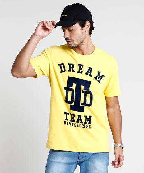 Camiseta-Masculina--Dream--Manga-Curta-Gola-Careca-Amarela-9847563-Amarelo_1