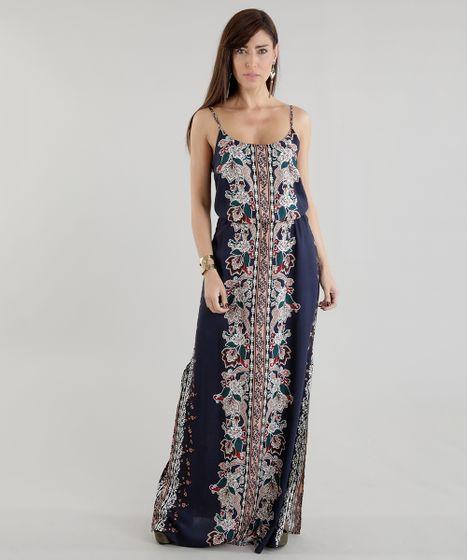 Vestido longo viscose azul