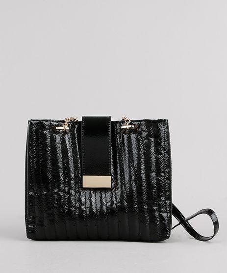 Bolsa-Feminina-Shoulder-em-Verniz-com-Textura-e-Corrente-Preta-9769778-Preto_1