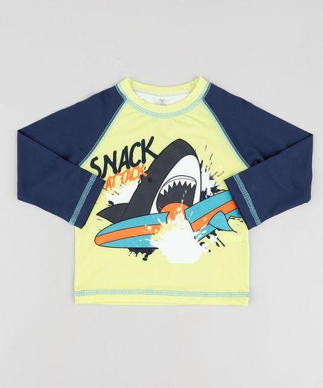 Camiseta-de-Praia-Infantil-Tubarao-Manga-Longa-Protecao-UV50---Verde-9744163-Verde_1