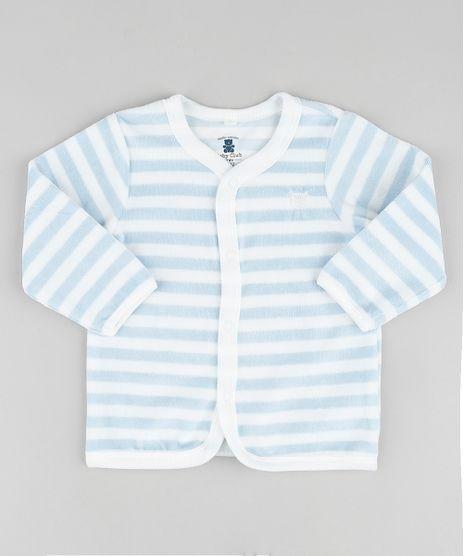 Cardigan-Infantil-em-Plush-Listrado-com-Bordado--Azul-9723424-Azul_1