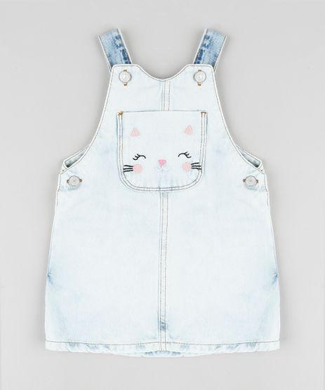 Salopete-Jeans-Infantil-com-Bolso-Bordado-de-Gatinho-Azul-Claro-9894176-Azul_Claro_1