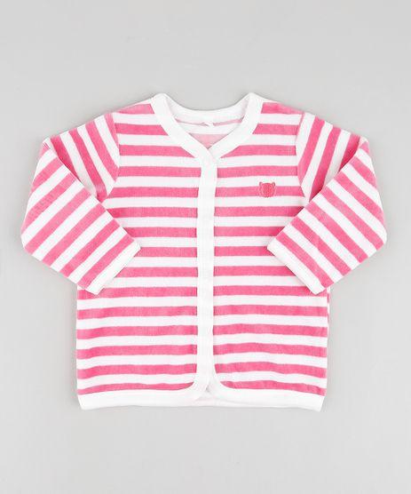 Cardigan-Infantil-em-Plush-Listrado-com-Bordado--Rosa-Escuro-9688485-Rosa_Escuro_1