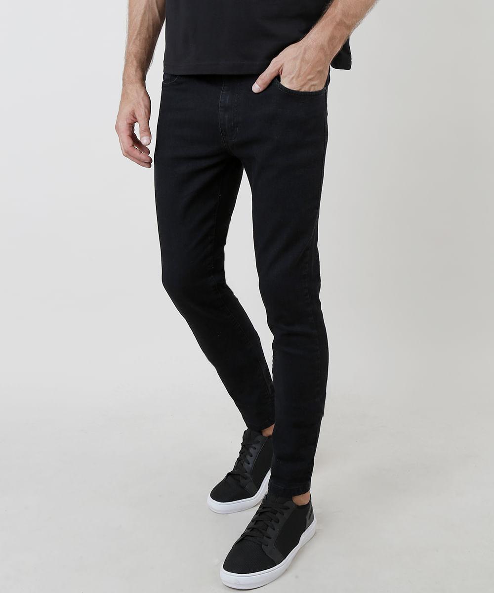 Calça Jeans Masculina Skinny com Bolsos Preta