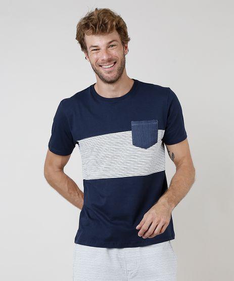 Camiseta-Masculina-com-Recorte-Listrado-e-Bolso-Manga-Curta-Gola-Careca-Azul-Marinho-9731141-Azul_Marinho_1