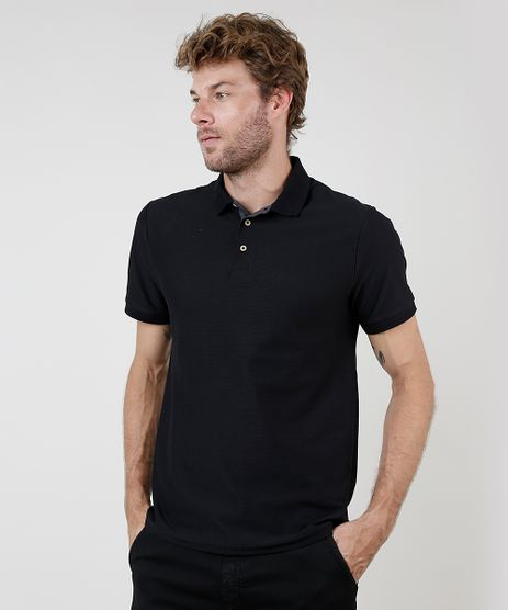 Polo-Masculina-Comfort-Fit-Texturizada-Manga-Curta-Preta-9910313-Preto_1