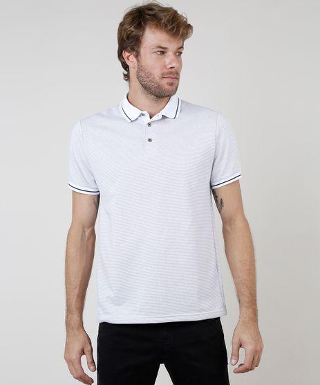 Polo-Masculina-Comfort-Fit-Estampada-Quadriculada-Manga-Curta-Branca-9872340-Branco_1