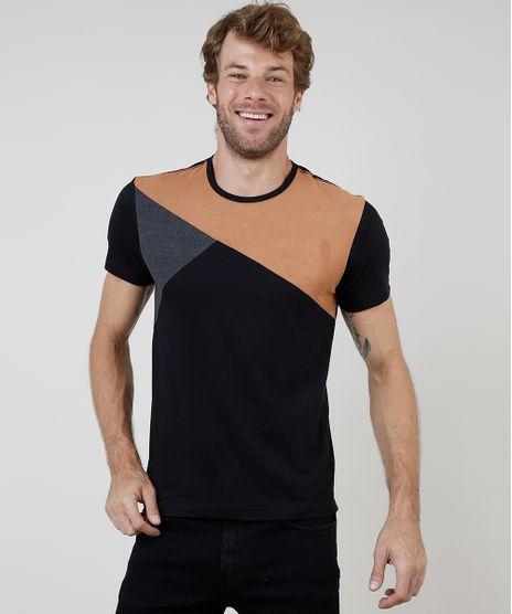 Camiseta-Masculina-Slim-com-Recorte-em-Suede-Manga-Curta-Gola-Careca-Preta-9899423-Preto_1