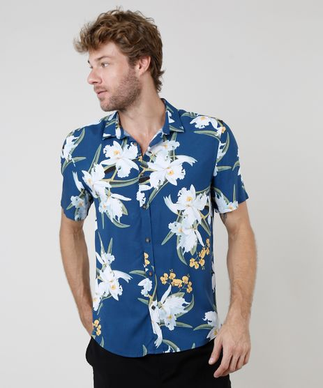 Camisa-Masculina-Relaxed-Estampada-Floral-Manga-Curta-Azul-Marinho-9657157-Azul_Marinho_1
