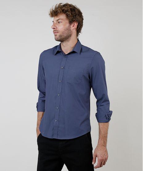 Camisa-Social-Masculina-Comfort-Fit-com-Bolso-Manga-Longa-Azul-9636818-Azul_1