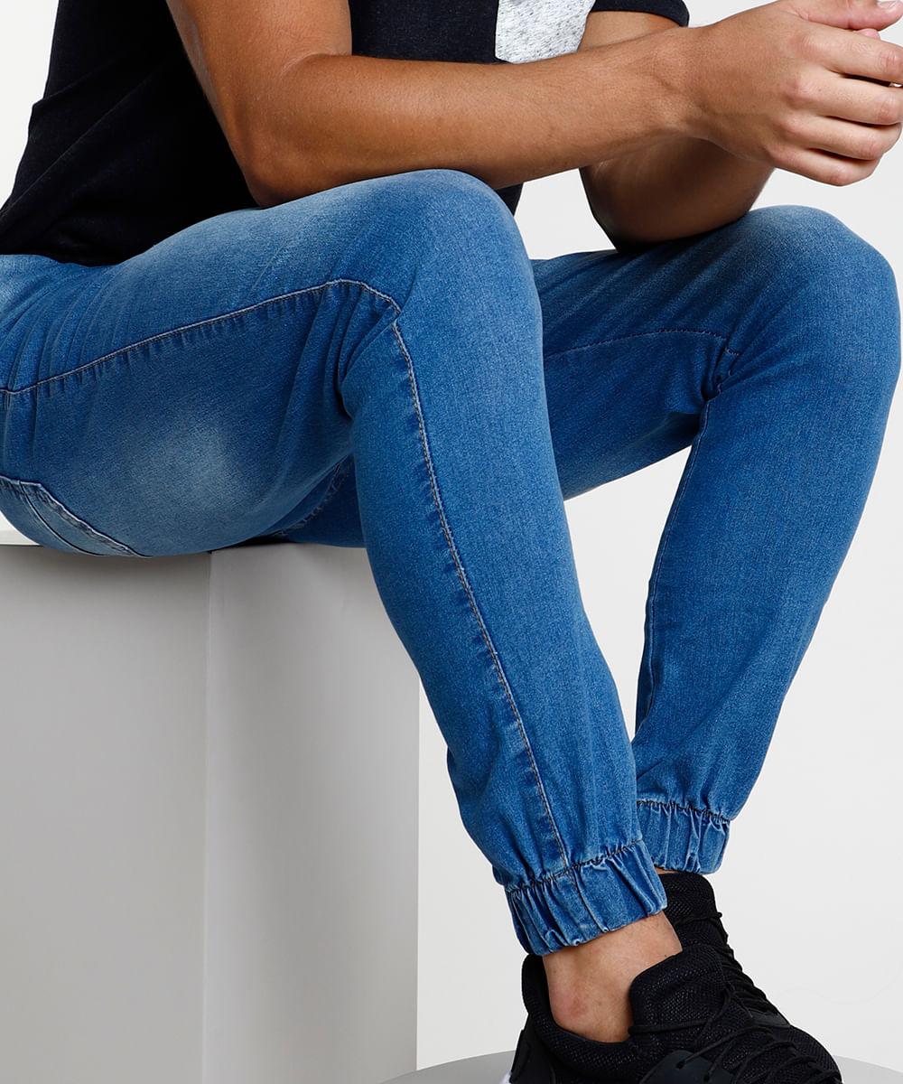 Calça Jeans Masculina Jogger Skinny com Bolsos Azul Médio