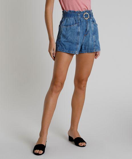 Short-Jeans-Feminino-Clochard-Cintura-Super-Alta-com-Recorte-e-Cinto-Azul-Medio-9896253-Azul_Medio_1