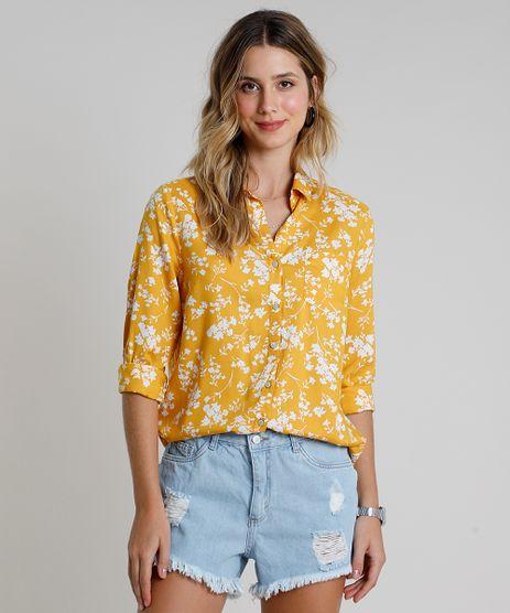Camisa-Feminina-Estampada-Floral-com-Bolso-Manga-Longa-Mostarda-9807090-Mostarda_1