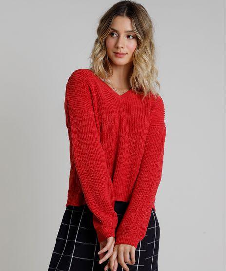 Sueter-Feminino-em-Trico-Chenille-Decote-V-Vermelha-9811695-Vermelho_1
