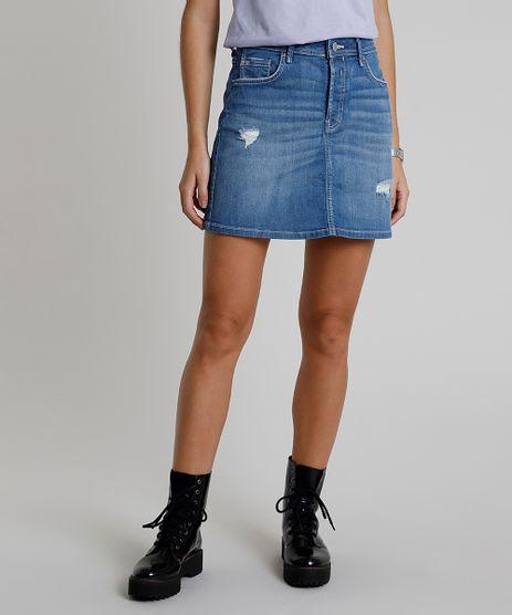 Saia-Jeans-Feminina-C2C-Curta-com-Rasgos-Azul-Medio-9820853-Azul_Medio_1