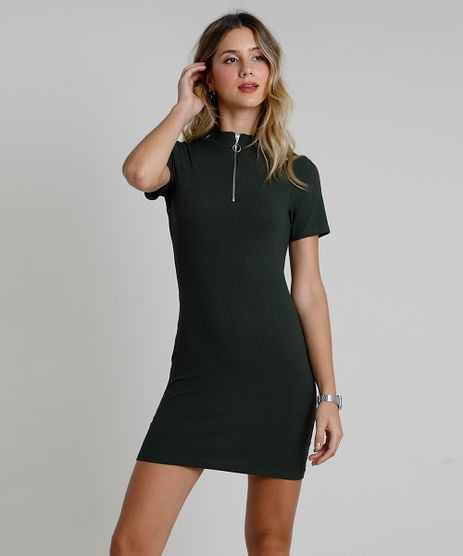Vestido-Feminino-Curto-Canelado-com-Ziper-Manga-Curta-Gola-Alta-Verde-Militar-9886202-Verde_Militar_1