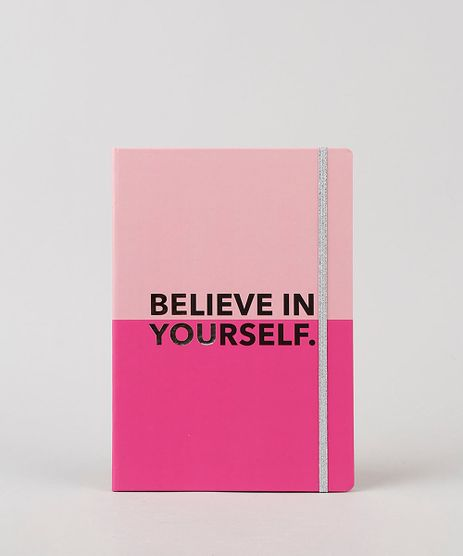 Caderno-Estampado-de--Believe-In-Yourself--Sem-Pauta-205cm-x-145cm-Rosa-9922353-Rosa_1
