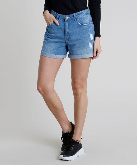 Short-Jeans-Feminino-Midi-Cintura-Alta-com-Rasgos-Barra-Dobrada-Azul-Claro-9889647-Azul_Claro_1