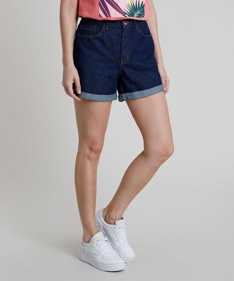 Short-Jeans-Feminino-Midi-Cintura-Alta-Barra-Dobrada-Azul-Escuro-9889648-Azul_Escuro_1