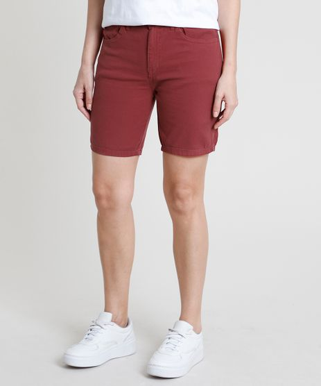 Bermuda-da-Sarja-Feminina-Ciclista-Cintura-Alta-Vermelho-Escuro-9889650-Vermelho_Escuro_1
