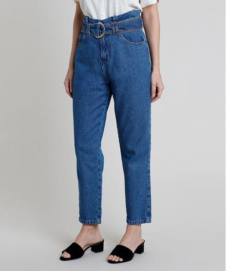 Calca-Jeans-Feminina-Mom-Clochard-Cintura-Super-Alta-com-Cinto-Azul-Escuro-9885757-Azul_Escuro_1