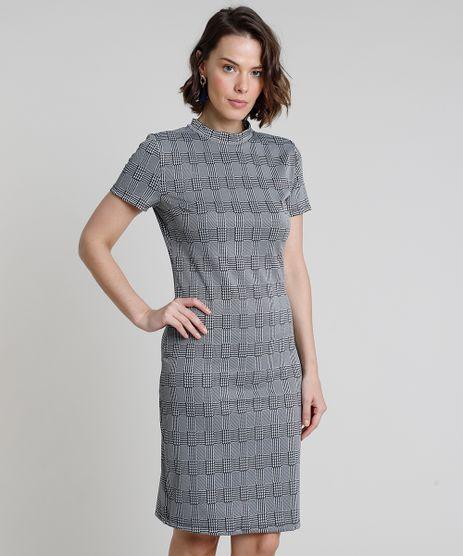 Vestido-Feminino-Curto-Estampado-Xadrez-Manga-Curta-Gola-Alta-Cinza-9937994-Cinza_1