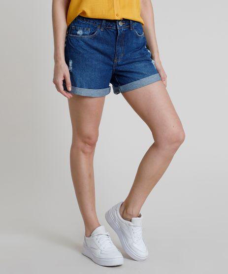 Short-Jeans-Feminino-Midi-Cintura-Alta-com-Rasgos-Barra-Dobrada-Azul-Escuro-9889646-Azul_Escuro_1