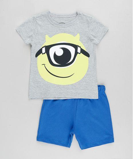 Conjunto-Infantil-Mike-Monstros-S-A--de-Camiseta-Manga-Curta-Cinza-Mescla---Bermuda-em-Moletom-Azul-9876585-Azul_1