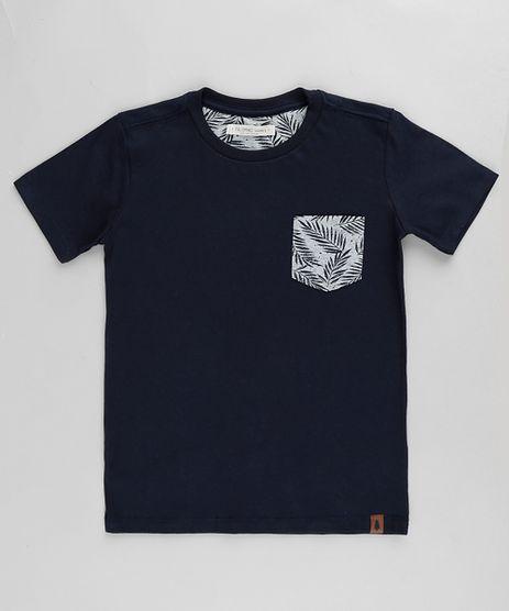 Camiseta-Infantil-com-Bolso-Estampado-de-Folhagem-Manga-Curta-Azul-Marinho-9865986-Azul_Marinho_1