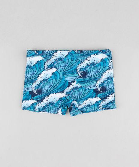 Sunga-Infantil-Boxer-Estampada-de-Ondas-com-Protecao-UV50--Azul-Escuro-9744463-Azul_Escuro_1
