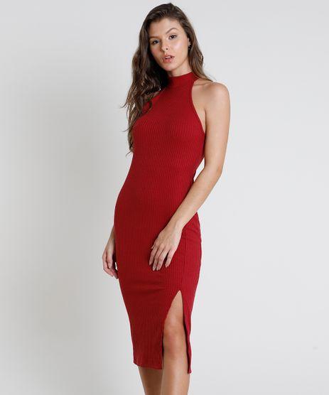 Vestido-Feminino-Midi-Halter-Neck-Canelado-com-Fenda-Gola-Alta-Vinho-9611887-Vinho_1