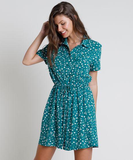 Vestido-Chemise-Curto-Estampado-Floral-com-Amarracao-Manga-Curta-Verde-9817003-Verde_1