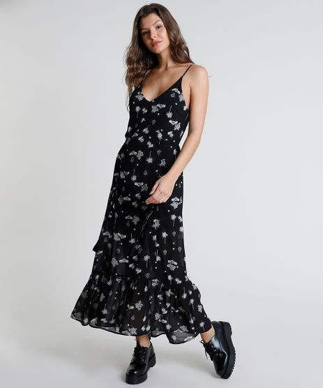 Vestido-Feminino-Longo-Estampado-de-Arabescos-com-Tassel-Alca-Fina-Preto-9819260-Preto_1