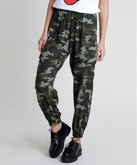 Calca-Feminina-Jogger-Cargo-Estampada-Camuflada-Verde-Militar-9608355-Verde_Militar_1