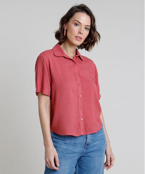 Camisa-Feminina-Ampla-Manga-Curta--Rosa-Escuro-9914942-Rosa_Escuro_1