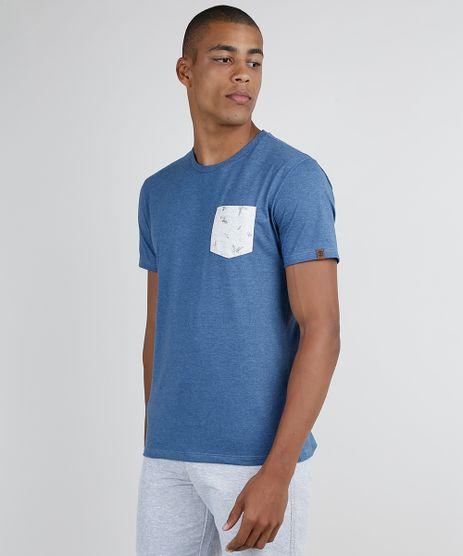 Camiseta-Masculina-com-Bolso-Estampado-Floral-Manga-Curta-Gola-Careca-Azul-9873871-Azul_1
