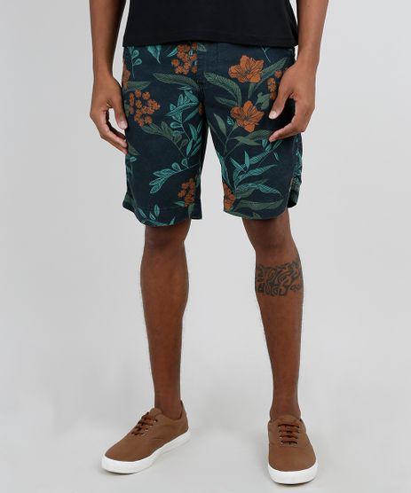 Bermuda-Masculina-Tradicional-Estampada-Floral-com-Bolso-Verde-Escuro-9867158-Verde_Escuro_1