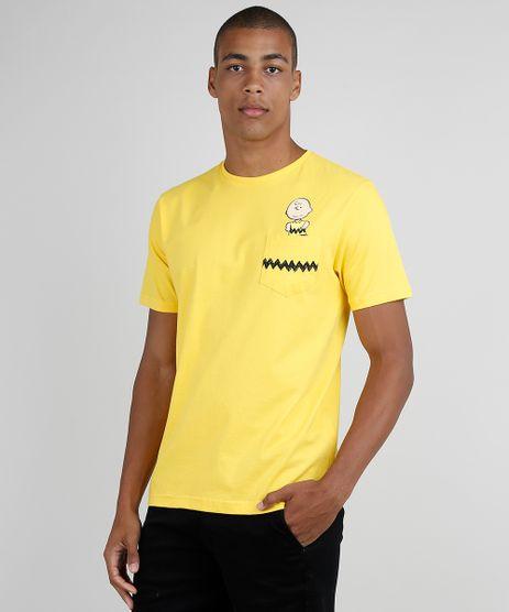 Camiseta-Masculina-Charlie-Brown-com-Bolso-Manga-Curta-Gola-Careca-Amarelo-9824370-Amarelo_1