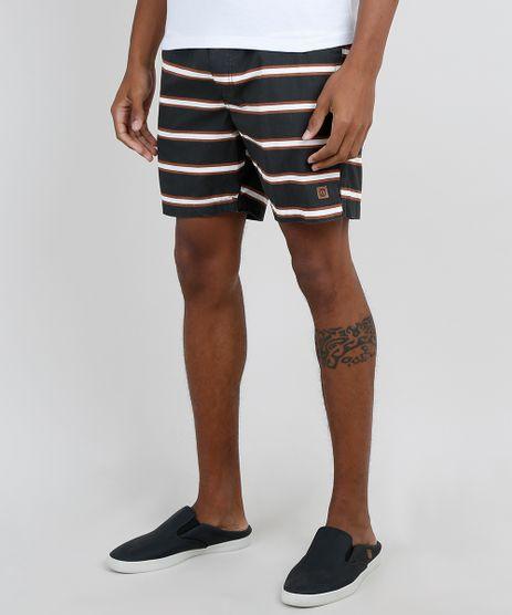 Bermuda-Masculina--Relaxed-Listrada-com-Cordao-e-Bolso-Marrom-9897998-Marrom_1